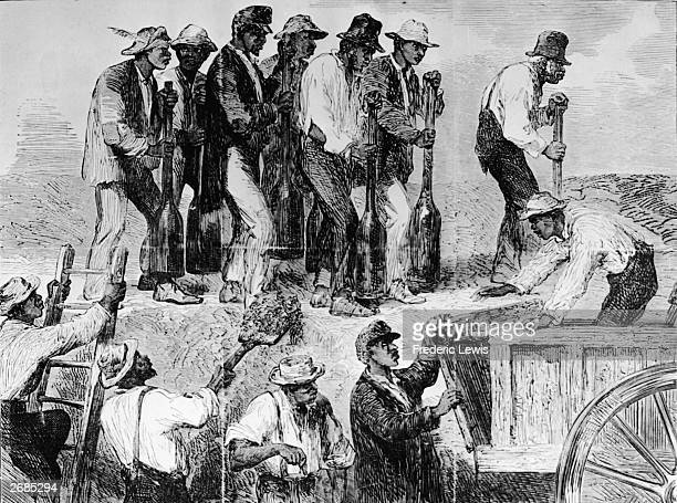 Illustration depicting slaves working to build Confederate defenses during the American Civil War Charleston South Carolina 1885