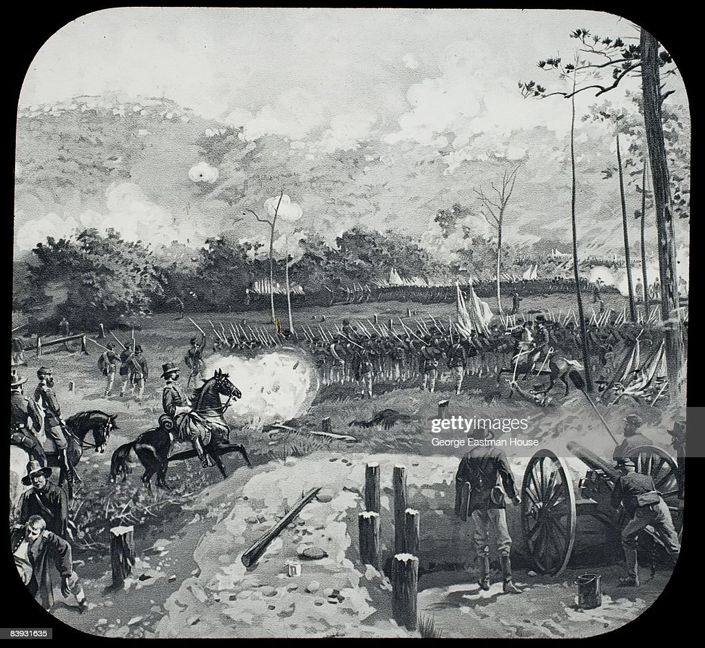 Illustration depicting the Battle of Kennesaw Mountain from the American Civil War, 1864. Georgia, United States