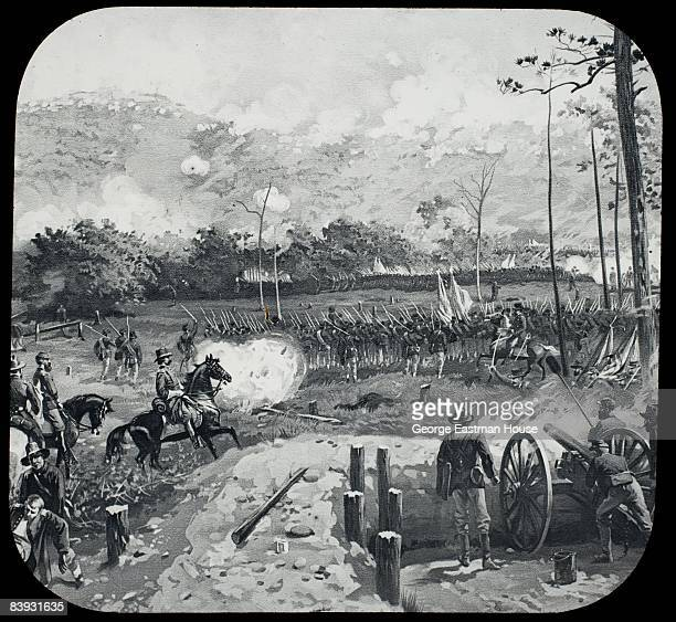 Illustration depicting the Battle of Kennesaw Mountain from the American Civil War 1864 Georgia United States