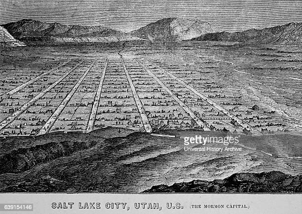 Illustration depicting the headquarters of the Mormon sect in Salt Lake City Utah Dated 19th Century