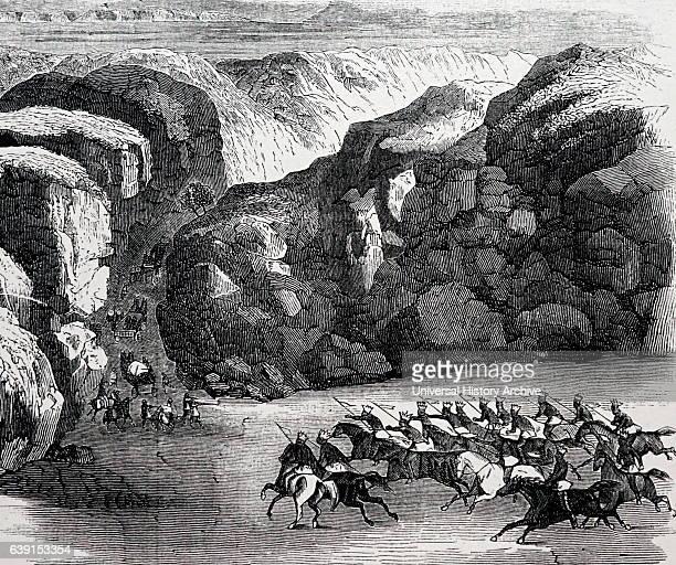Illustration depicting the Mormon exodus from Illinois to Salt Lake City Utah Dated 19th Century