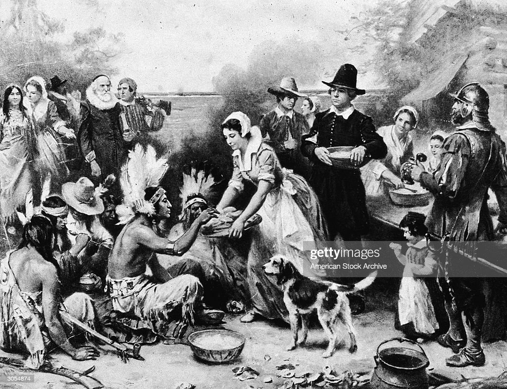 Illustration depicting the Pilgrims serving food to American Indians at the first Thanksgiving dinner in 1621