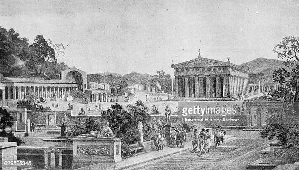 Illustration depicting the sacred enclosure at Olympia a sanctuary of ancient Greece in Elis on the Peloponnese peninsula is known for having been...