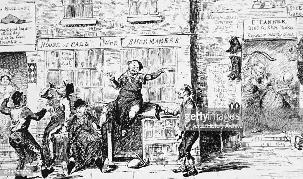 Illustration depicting the shoemaker's of London celebrating the day of the Patron's Saint St Crispin Dated 19th Century