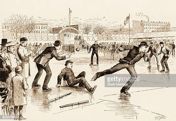 Illustration depicts a baseball game between professionals and amateurs played on an ice rink in Washington Park Brooklyn New York New York circa...