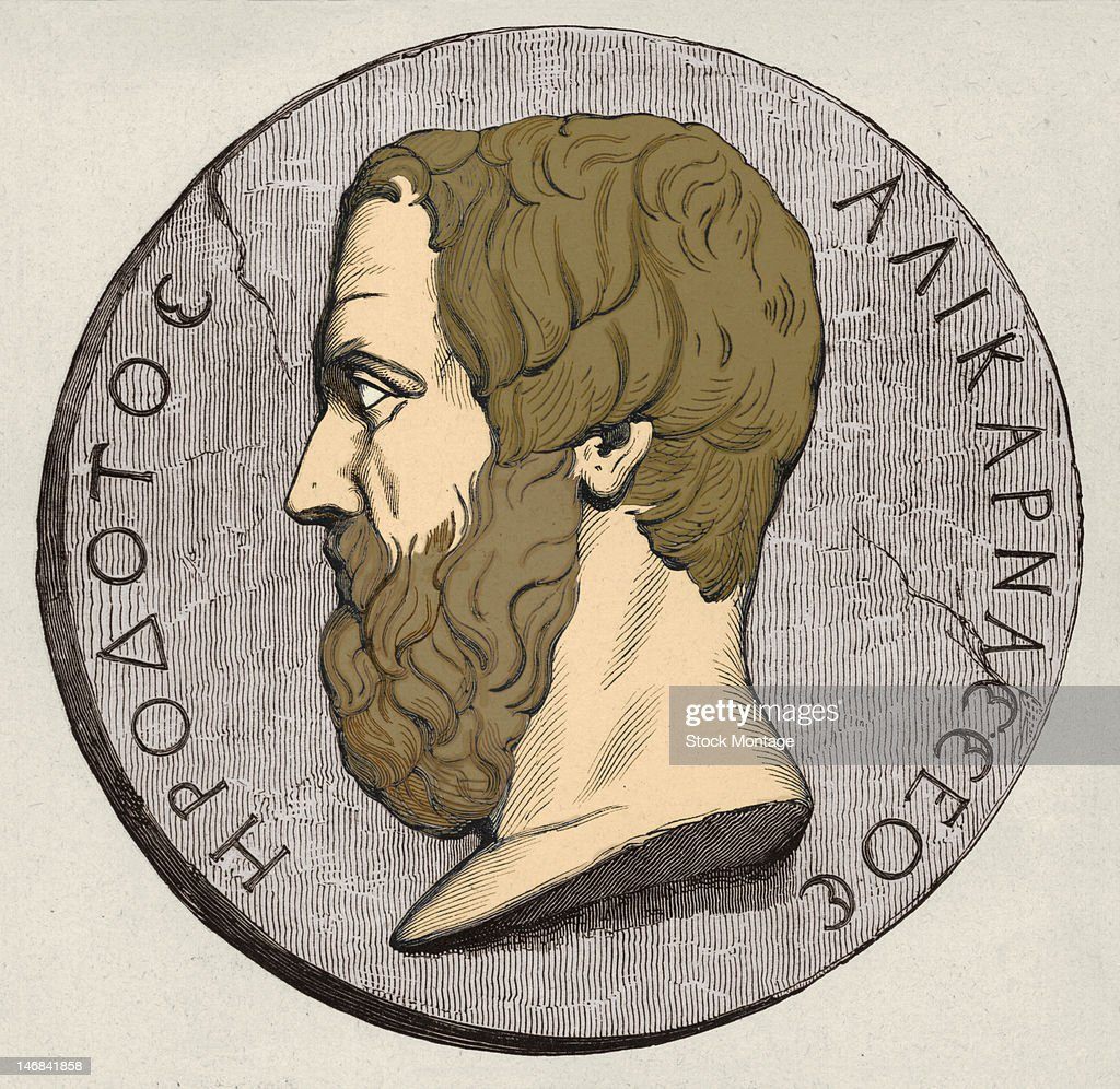 Illustration depicts a coin that bears a profile of Greek historian Herodotus