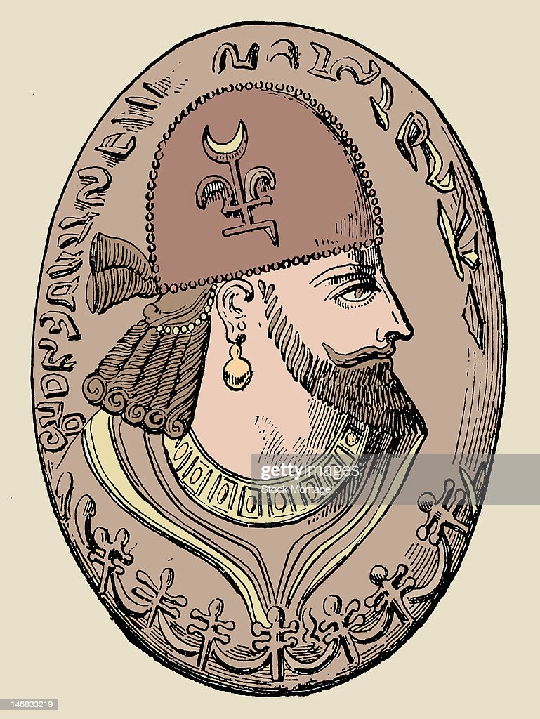 Illustration depicts a coin the bears a profile of Persian King Artaxerxes I