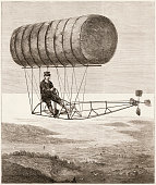 Illustration depicts a flying machine during a trial trip near Hartford Connecticut June 12 1878 The craft a rubbercoated fabric cylinder filled with...