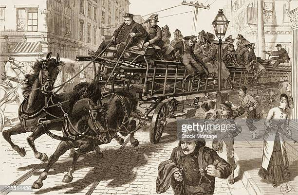 Illustration depicts a horsedrawn fire wagon as it swervesa round a corner New York New York 1882 It originally appeared in an issue of Frank...