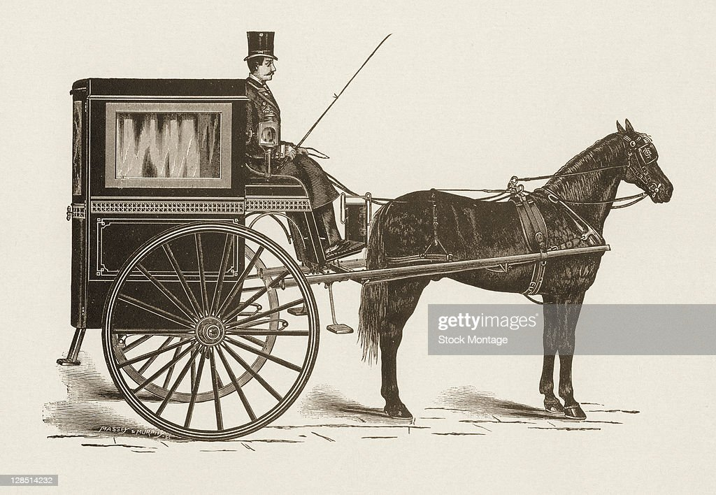 Illustration depicts a horsedrawn Gurney cab as its driver sits at the ready mid 1880s