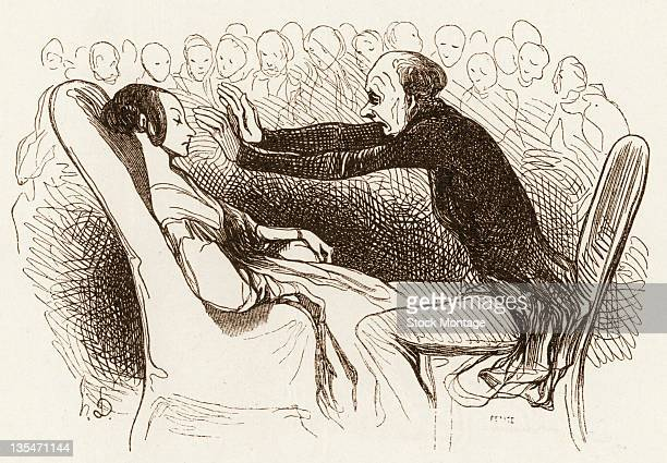 Illustration depicts a hypnotist as he demonstration his abilities on a young woman as a crowd of people watch mid 19th century