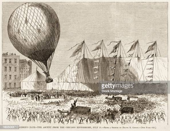 Illustration depicts a late afternoon balloon ascent from PT Barnum's Hippodrome in Chicago Illinois July 15 1875 During the flight shown in an...