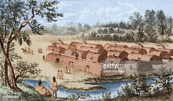 Illustration depicts a Native American village of longhouses on Manhattan Island prior to the arrival of Dutch colonists New York New York 16th or...
