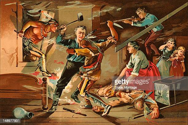 Illustration depicts a pioneer family in their home as they fight Native American invaders 19th century