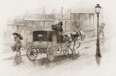 Illustration depicts a rainy street sceen as a woman with an umbrella is passed by a a horsedrawn carriage France late 1880s or early 1890s