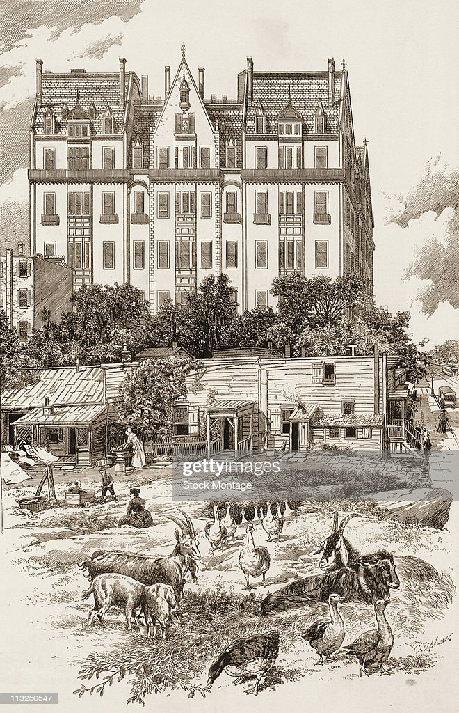 Illustration depicts a row of ramshackle homes with farm animals in the ajoining field which are somewhat overshadowed by the more modern eight or nine story building behind them, near Cental Park on the west side of New York, New York, late 1880s.