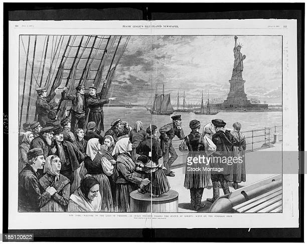 Illustration depicts a ship of immigrants as thet pass the Statue of Liberty in New York Harbor New York New York 1887 The text at bottom reads...