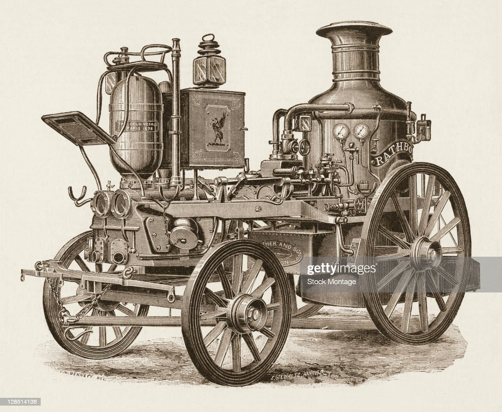 Illustration depicts a steam fire engine 1885 A plaque on the engine states 'Two gold medals Paris' while the box behind is depicts a cormorant