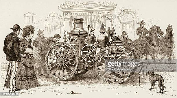 Illustration depicts a steam operated horsedrawn fire engine on a street as it is admired by several pedestrians Boston Massachusetts early 1870s