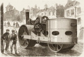 Illustration depicts a steamroller parked on a street in Liverpool England 1867 It was originally published in an issue of the Illustrated London News