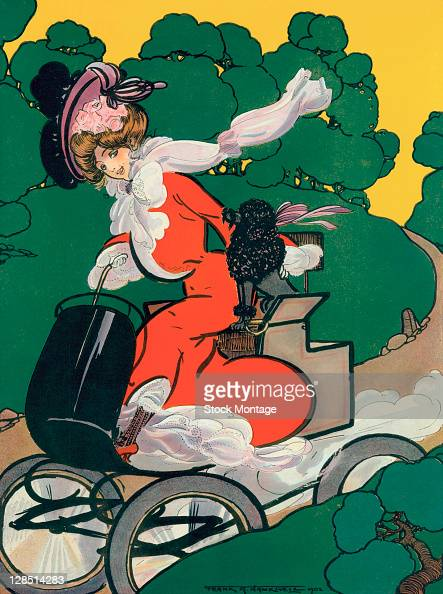 Illustration depicts a well=dressed young woman as she drives along a road with a poodle by her side 1902 Originally appearing in Puck magazine the...