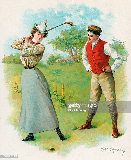 Illustration depicts a woman as she practices her golf swing wtched by a man with his hands on his hips late 19th century The illustration is a...