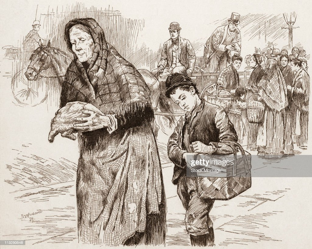 Illustration depicts an elderly woman and a child as they carry food away from a horsedrawn wagon where a philanthropist distributes poultry to the...