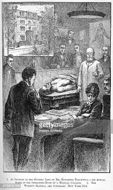 Illustration depicts an incident from the student life of British medical practitioner Dr Elizabeth Blackwell circa 1847 The illustration shows...