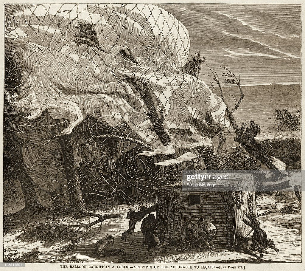 Illustration depicts balloonists after their balloon 'Le Geant' downed by strong winds crashed and dragged them and their basket across the...