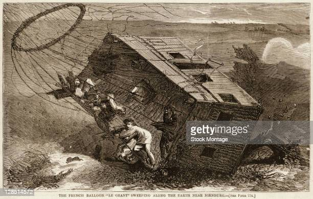 Illustration depicts balloonists as they struggle while their balloon 'Le Geant' downed by strong winds drags them and their basket across the...