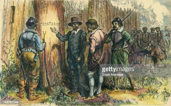 Illustration depicts John White and others as they find a tree into which is carved the word 'Croatoan' Roanoke Island North Carolina 1590 Three...