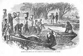 Illustration depicts slaves at a plantation as they unload baskets of rice onto a river boat that travel the Savannah River Georgia nineteenth...