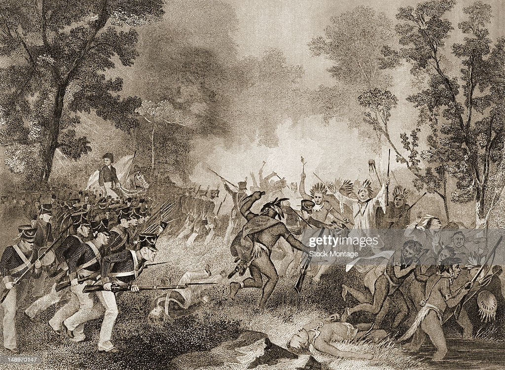 Illustration depicts the Battle of Tippecanoe between United States forces and a coalition of Native American tribes Indiana 1811