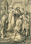 Illustration depicts the Bishop of Milan Saint Ambrose as he refuses to allow Emperor Theodosius the Great to enter a church
