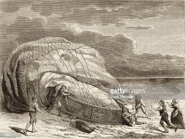 Illustration depicts the death of French aeronaut JeanFrancois Pilatre de Rozier and his assistant Pierre Romain in a balloon accident near Wimereux...