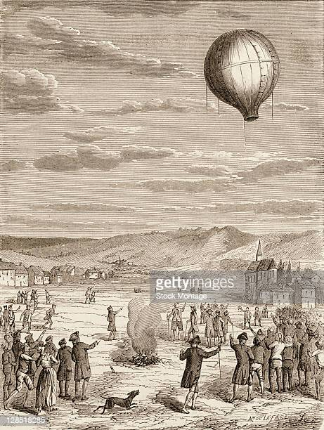 Illustration depicts the first public demonstration of a hotair balloon designed by sibing French inventors JosephMichel and JacquesEtienne...