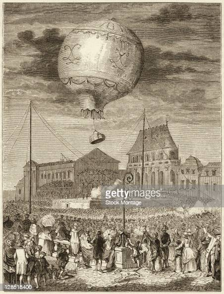 Illustration depicts the launch of a hotair balloon named 'Aerostat Reveillon' and designed by sibing French inventors JosephMichel and...