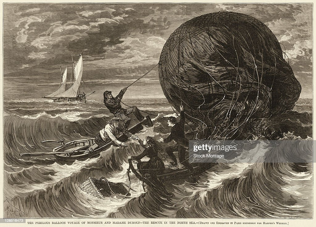 Illustration depicts the sea rescue of 'Monsieur and Madame Durouf' whose balloon had been driven out into the North Sea by wind where they crashed...