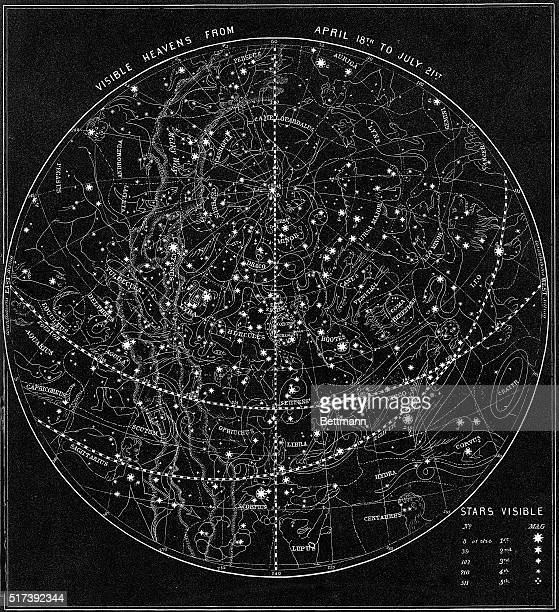 Illustration depicts the 'Visible Heavens From April 18th to July 21st' Stars and constellations are depicted Undated