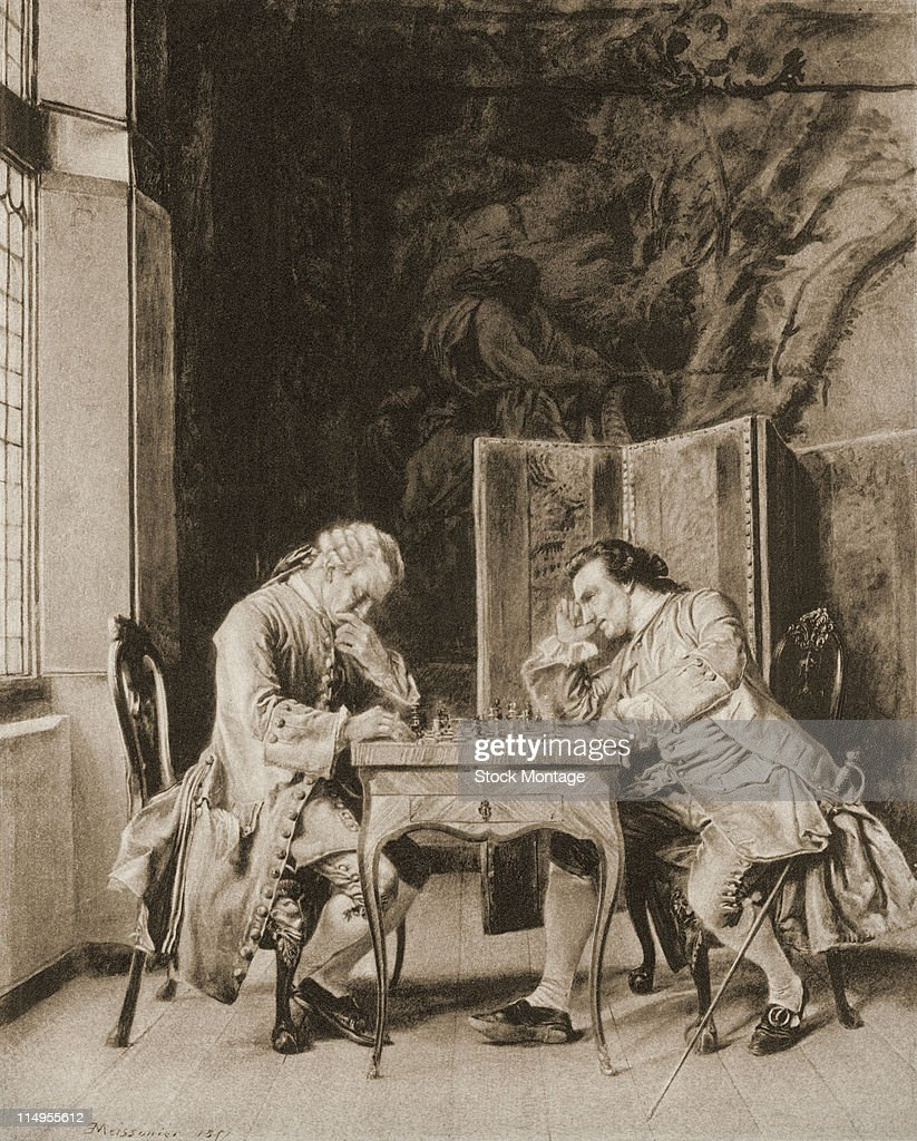 Illustration depicts two welldressed gentlemen seated in a room near a tall window as they play a game of chess 1857