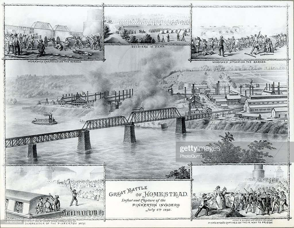 Illustration depicts various scenes during the confrontation between striking steel workers and Pinkerton agents during the strike in Homestead...