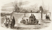 Illustration depitcs a steampowered automoble with a driver and passenger in the front and a stoker in the back as pedestrians on the road stand by...