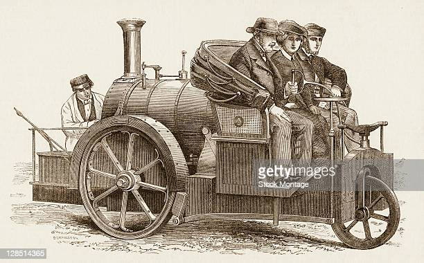 Illustration depitcs a steampowered automoble with a driver and two passengers in the front and a stoker in the back 1862 It was originally published...