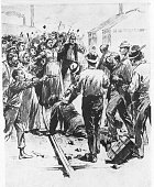 Illustration depricts a confrontation between striking steel workers and the Pinkerton agents who had surrendered after a tense hourslong standoff...