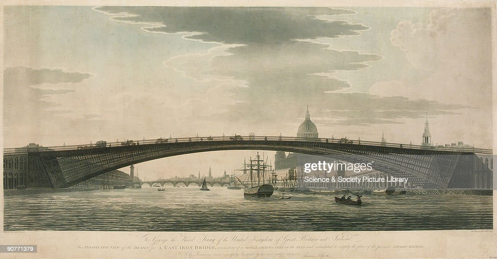 Illustration drawn and aquatinted by Thomas Malton Perspective view of a design by Scottish civil engineer Thomas Telford for a cast iron bridge...