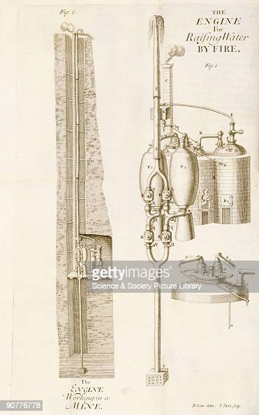 Illustration drawn by B Lens and engraved by I Sturt of an early steam pump from 'The Miner's Friend or an Engine to Raise Water by Fire' by Thomas...