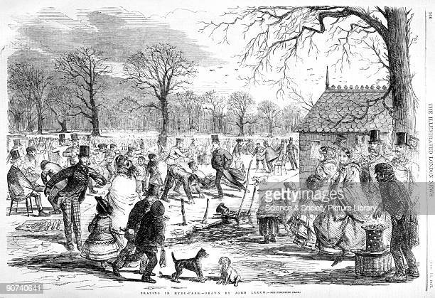 Illustration drawn by John Leech taken from the Illustrated London News showing crowds of people enjoying themselves on the ice in Hyde Park London...