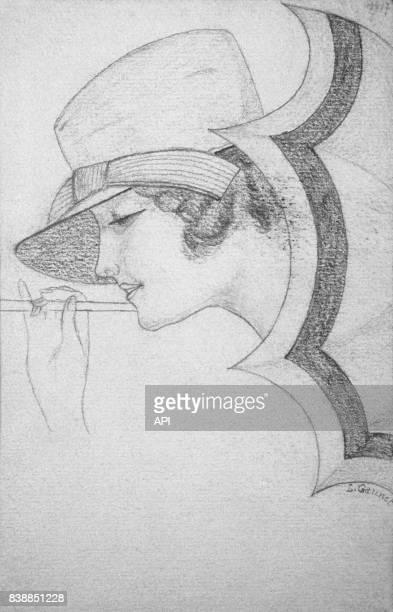 Illustration d'un profil du visage d'une femme coiffée d'un chapeau et qui tient une ombrelle
