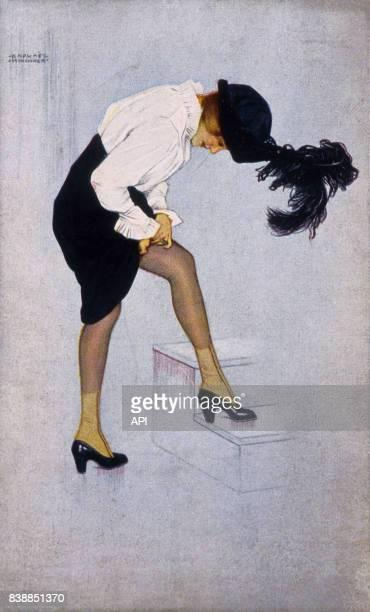 Illustration d'une femme au chapeau à plumes ajustant son bas