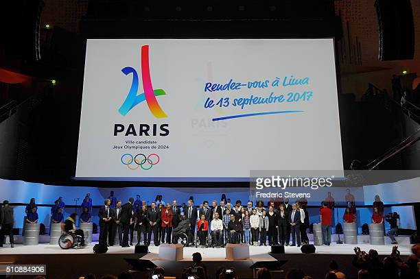 Illustration during the official presentation of Paris as candidate for the 2024 Olympic summer games in the Paris Philharmony concert hall on...